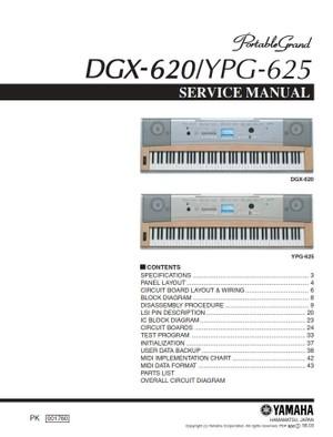 Yahama DGX 620 YPG 625 Keyboard Service Manual and Repair Guide