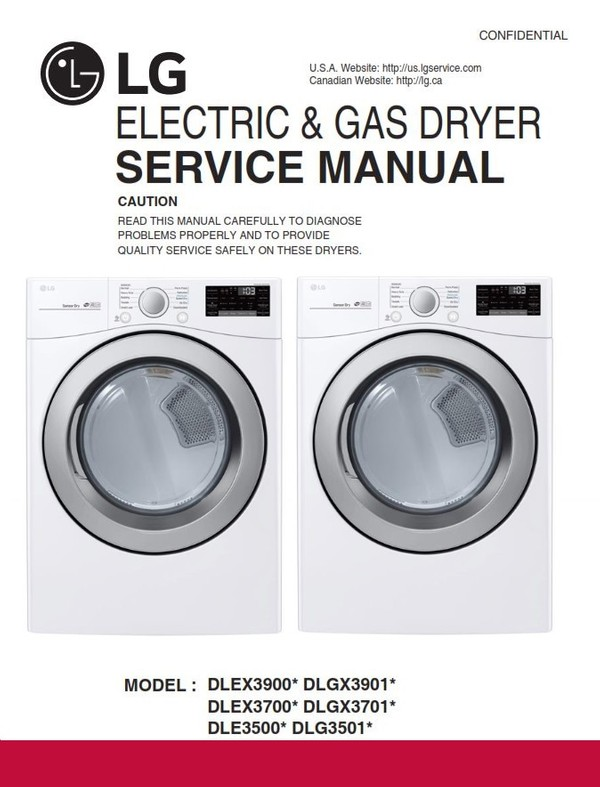 LG DLE3500 DLE3500W DLG3501W Electric & Gas Dryer Service Manual