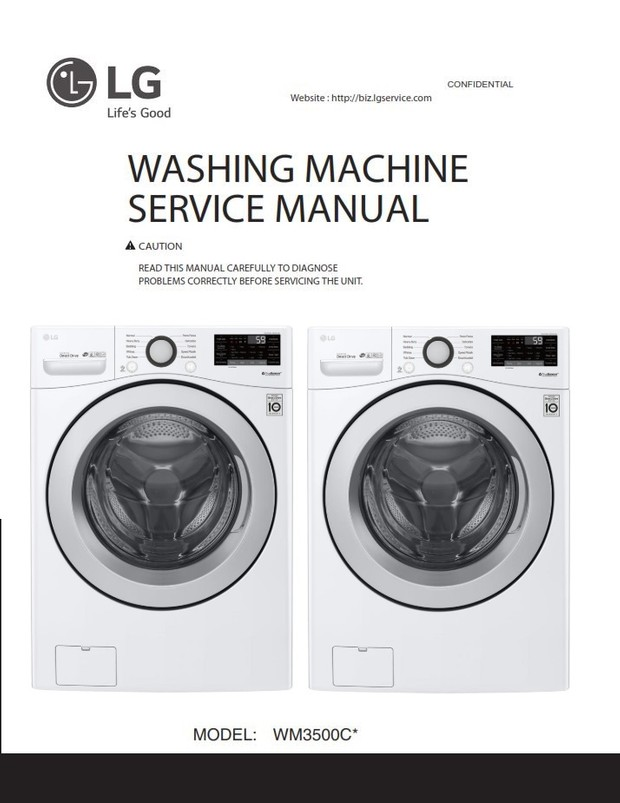 LG WM3500CW Washer Service Manual and Repair Guide