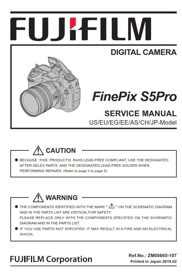 FujiFilm FinePix S5Pro Digital SLR Camera Service Manual & Repair Guide