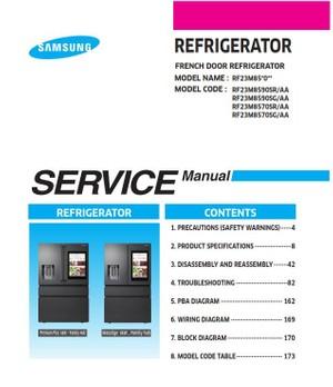 Samsung RF23M8590 RF23M8590SR RF23M8590SG Service Manual & Repair Instructions