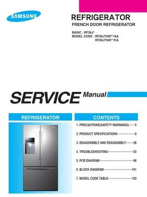 Samsung RF26J7500 RF26J7500SR Service Manual & Repair Instructions