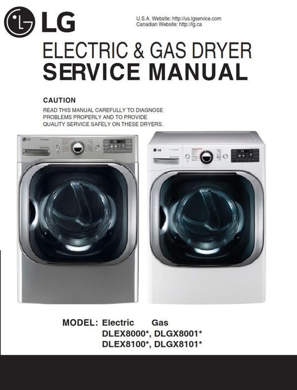 LG DLEX8100V DLEX8100W DLGX8101V DLGX8101W Dryer Service Manual