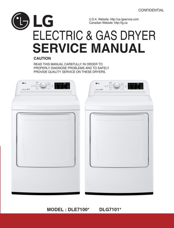 LG DLE7100 DLE7100W DLG7101W Dryer Service Manual and Technicians Guide