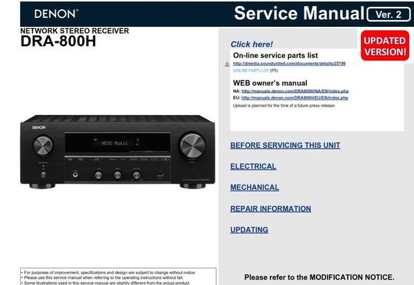 Denon DRA-800H Network Stereo Receiver Service Manual