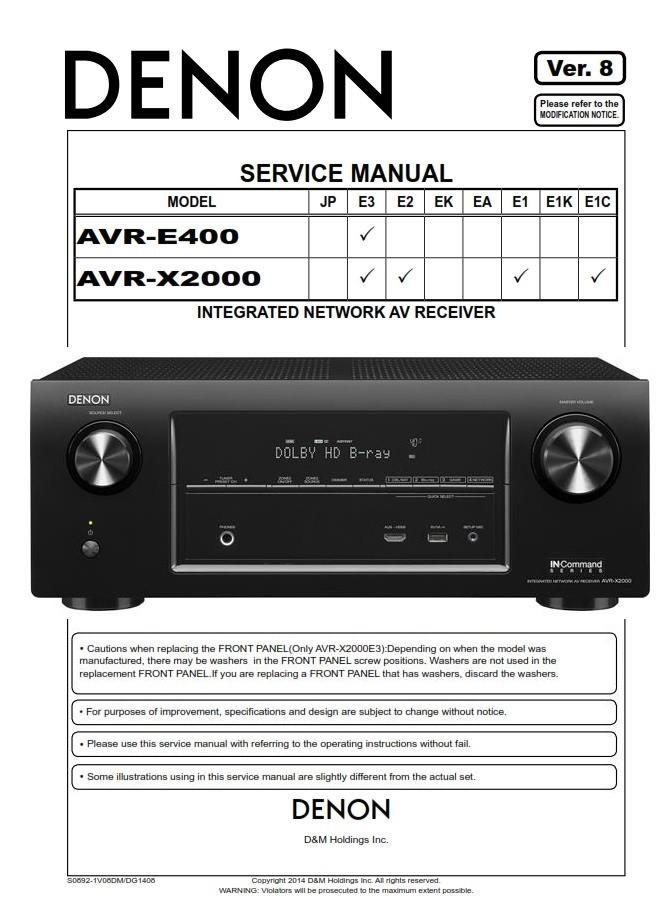 Denon Avr X2000 E400 Av Receiver Service Manual