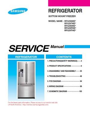 Samsung RFG298HDRS RFG298HDWP RFG298HDBP Service Manual & Troubleshooting Guide
