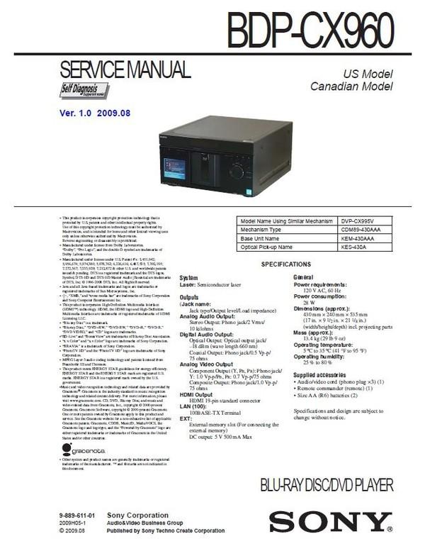 Sony BDP CX960 Multi Disc Blu Ray Player original Service Manual & Repair Instructions