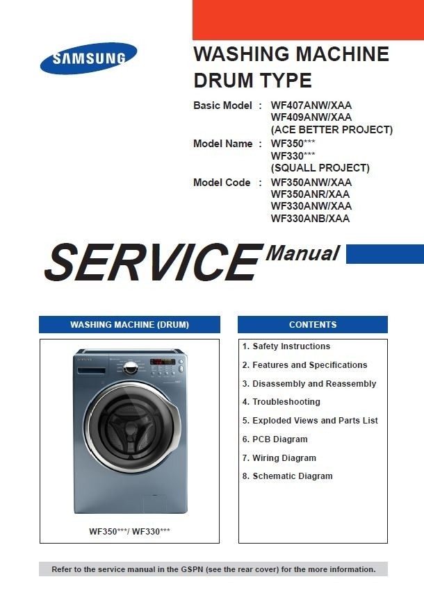 Samsung WF350ANP WF350ANW WF350ANR WF330ANW WF330ANB Washer Service Manual