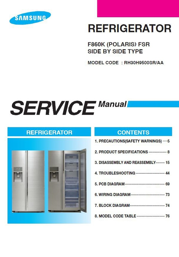 Samsung RH30H9500SR Refrigerator Service Manual and Repair Instructions