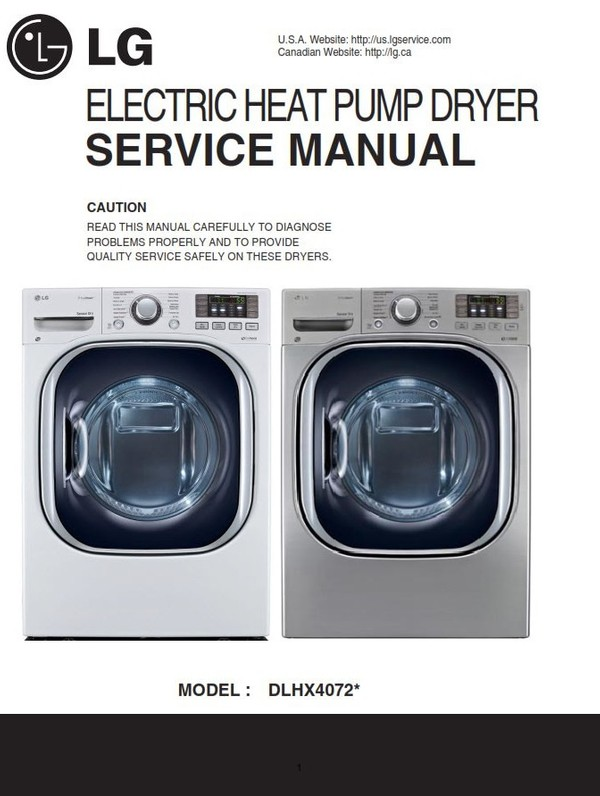 LG DLHX4072W DLHX4072V Dryer Service Manual and Technicians Guide