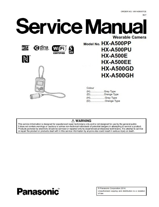 Panasonic Hx A500 Active Camcorder Service Manual And