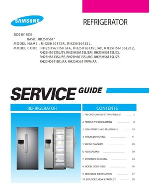 Samsung RH25H5611SR RH25H5613SL RH25H5611BC RH25H5611WW Service Manual and Repair Instructions