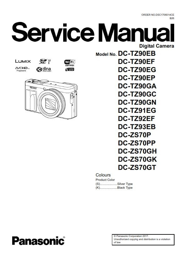 Panasonic Lumix DC ZS70 TZ90 Digital Camera Service Ma