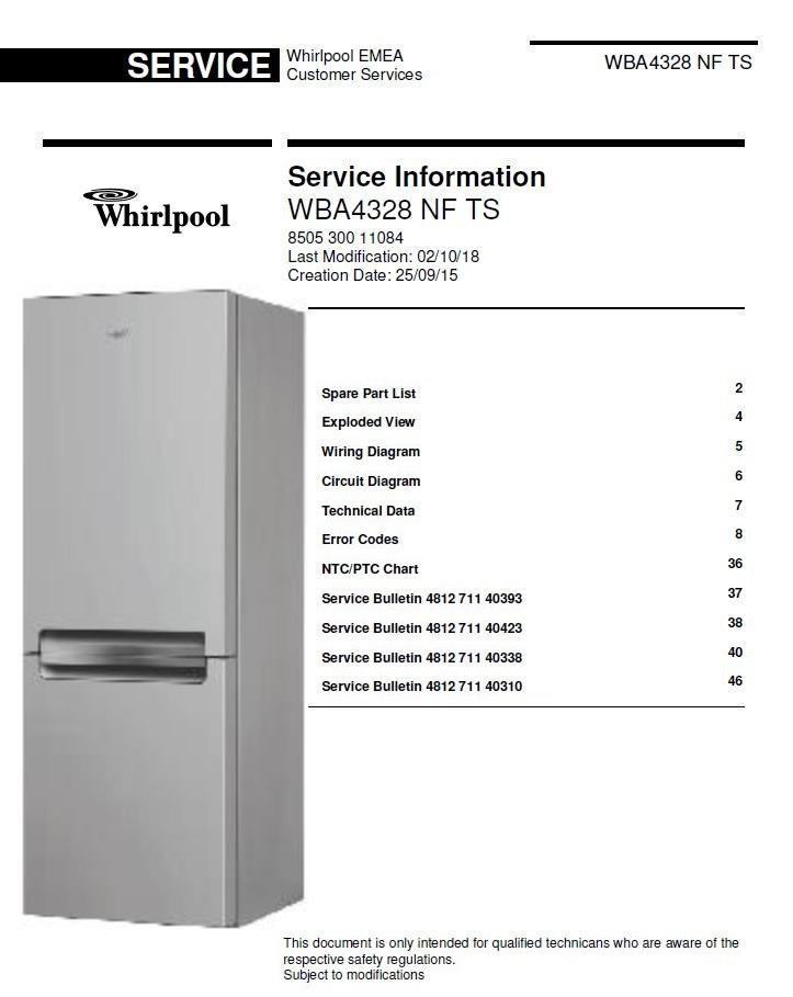 whirlpool wba4328 nf ts refrigerator service manual  technicians guide