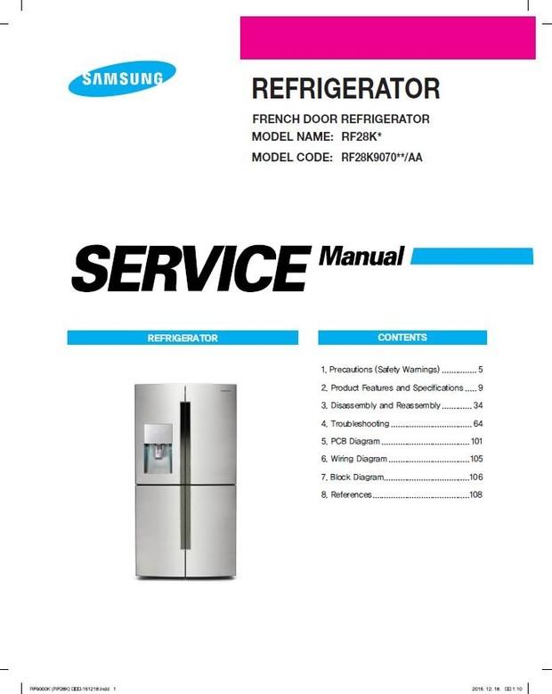 Samsung RF28K9070SG RF28K9070SR Service Manual & Repair Instructions