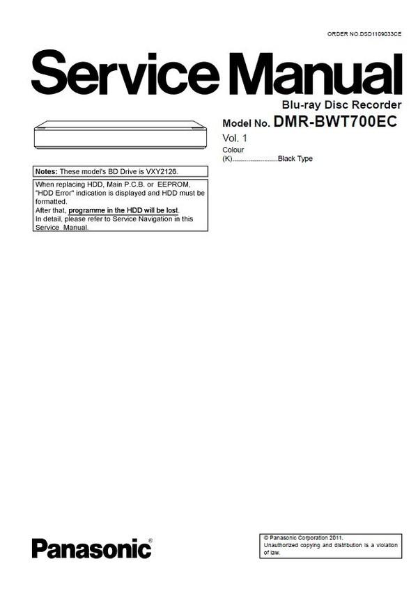 Panasonic DMR BWT700 BWT700EC Blu Ray Recorder Service Manual