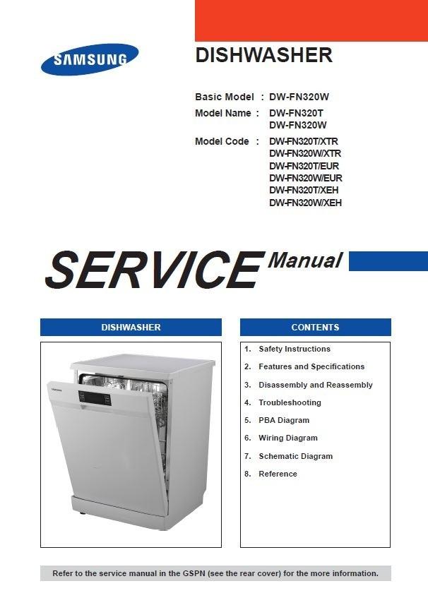 Samsung DW FN320T FN320W Dishwasher Original Service Manual
