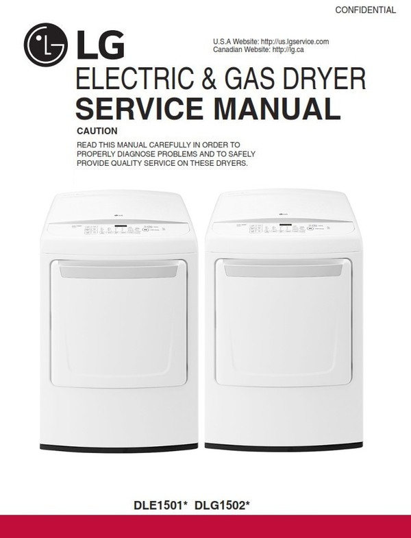 LG DLE1501W DLG1502W Dryer Service Manual and Technicians Guide