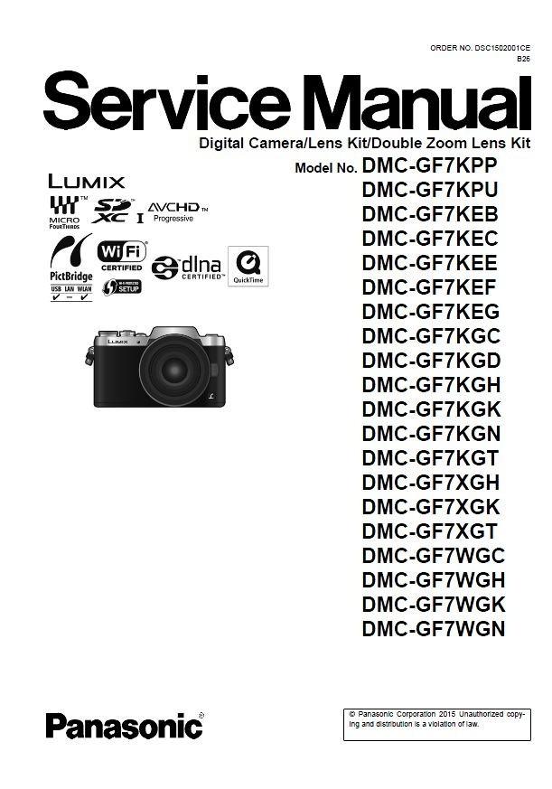 Panasonic Lumix DMC GF7 GF7K GF7X GF7W Service Manual