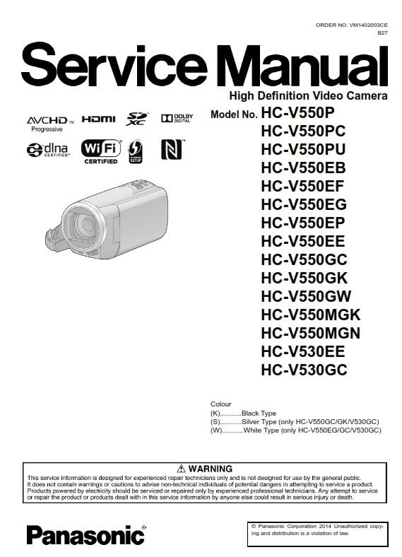 Panasonic HC V550 V550M V530 Camcorder Service Manual and Repair  Instructions