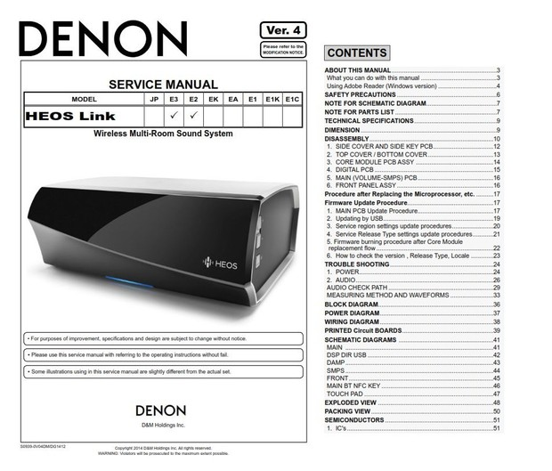 Denon HEOS Link Wireless Pre Amplifier Service Manual and Repair Guide