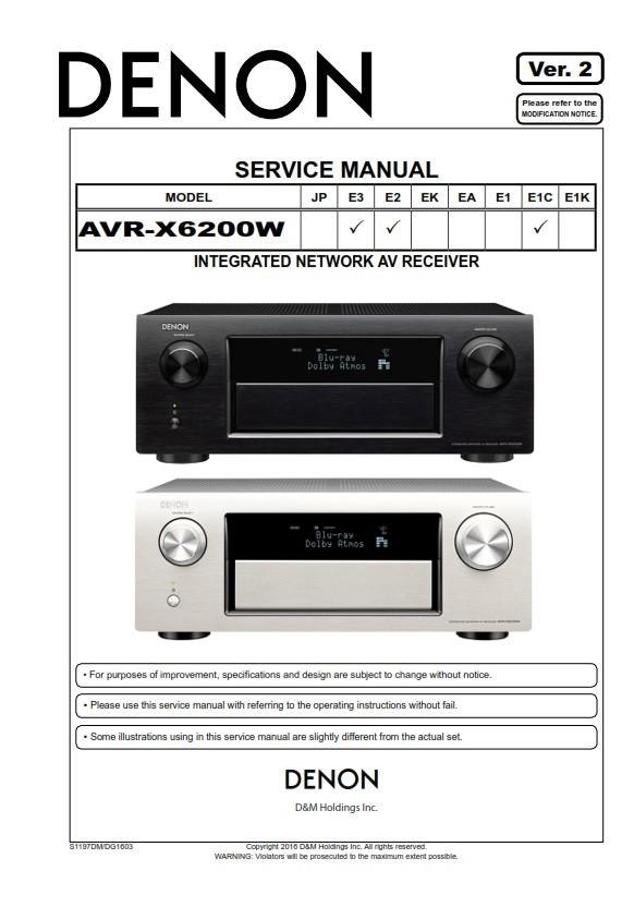 Denon AVR X6200W A/V Receiver Service Manual