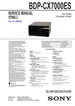 Sony BDP-CX7000ES Multi Disc Blu Ray Player Service Manual