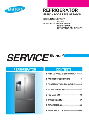 Samsung RF28HFEDBSR RF28HFEDTSR RF28HFPDBSR RF28HFEDBSL Service Manual and Repair Instructions