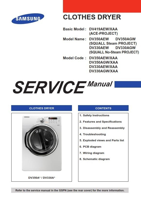Samsung DV330AEB DV330AEW DV330AGW Service Manual and Repair Instructions