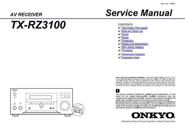 Onkyo TX RZ3100 AV Receiver Service Manual and Repair Guide