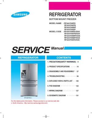 Samsung RF4287HARS RF4287HABP RF4287HAWP RF4287HAPN Refrigerator Service Manual