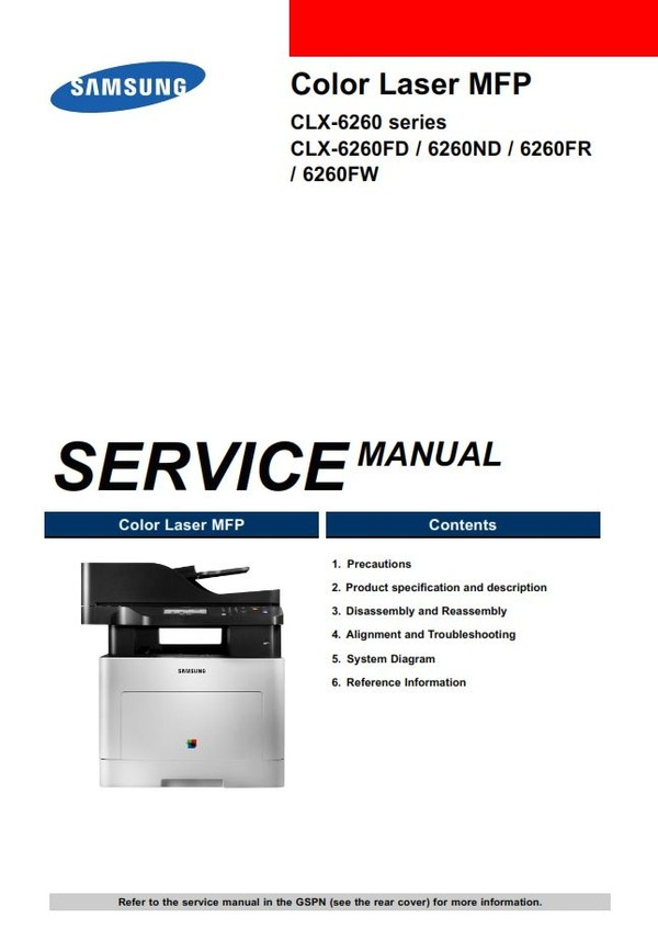 Samsung CLX 6260FW Color Laser Printer Service Manual