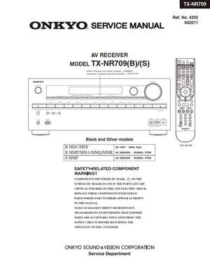 Onkyo TX NR709 AV Receiver Service Manual and Schematics