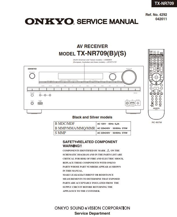 Onkyo TX NR709 AV Receiver Service Manual and Schematics