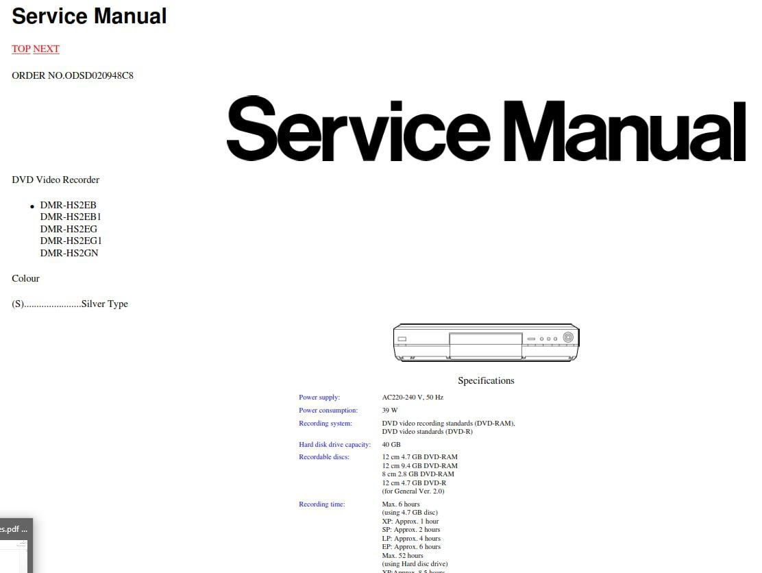 Panasonic DMR-HS2 Service Manual & Repair Guide