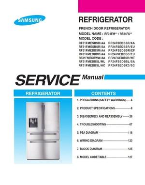 Samsung RF24FSEDBSR RF24FSEDBBC RF24FSEDBSL RF24FSEDBX3 Refrigerator Service Manual