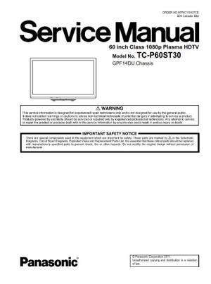 Panasonic TC P60ST30 Plasma HDTV Service Manual and Repair Instructions