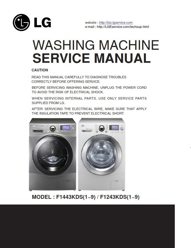 lg f1443kds7 steam washer service manual and troublesh rh sellfy com lg top load washing machine repair manual lg tromm front load washer repair manual