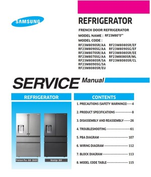 Samsung RF23M8090SR RF23M8090SG RF23M8070SR RF23M8070SG RF23M8080SR Service Manual