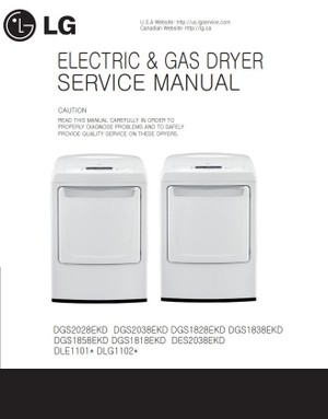 LG DLE1101W DLG1102W Service Manual & Repair Guide