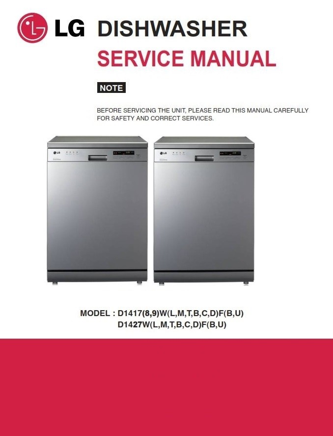 Lg D1419lf Dishwasher Service Manual And Technical Tro Serviceandrepair