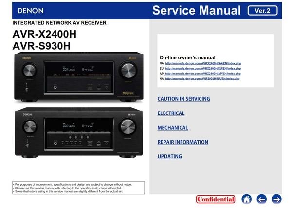 Denon AVR X2400H S930H Receiver Service Manual & Repair Instructions