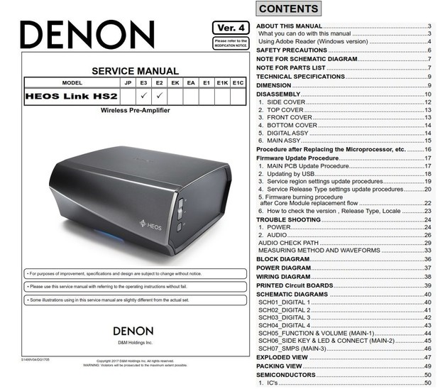 Denon HEOS Link HS2 Pre Amplifier Service Manual and Repair Guide