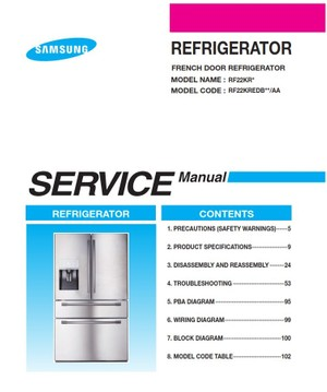 Samsung RF22KREDB RF22KREDBSR RF22KREDBSG Service Manual & Repair Instructions