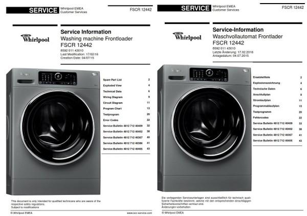 Whirlpool FSCR 12442 Washing Machine Service Manual (English+Deutsch)