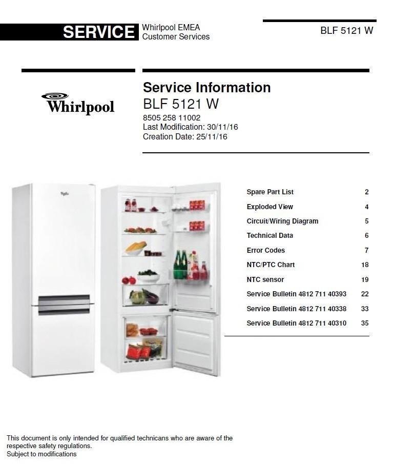 whirlpool blf 5121 w refrigerator service manual