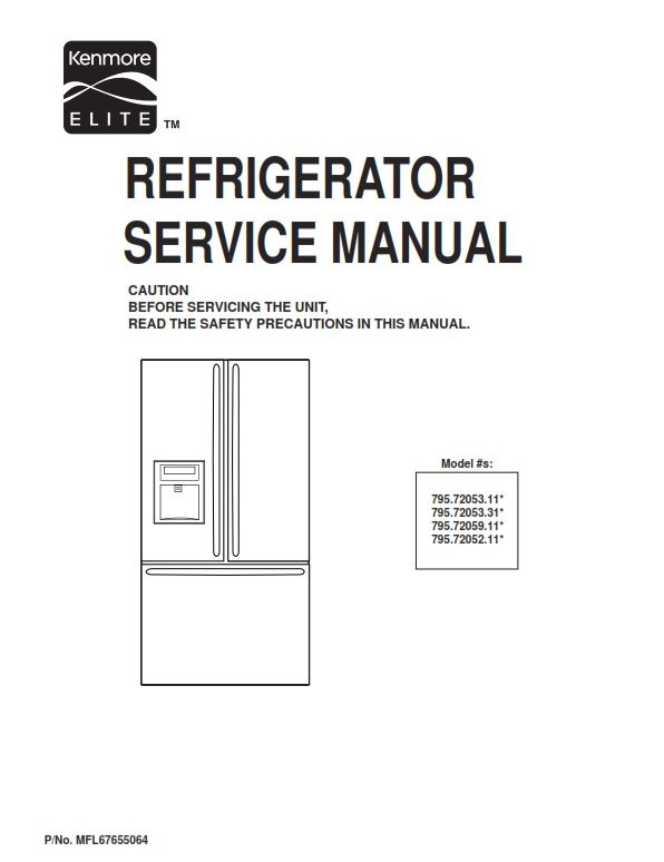 kenmore elite 795 72052 72053 72059 service manual and rh sellfy com Elite Kenmore Refrigerator 596 kenmore refrigerator model 596 owner's manual