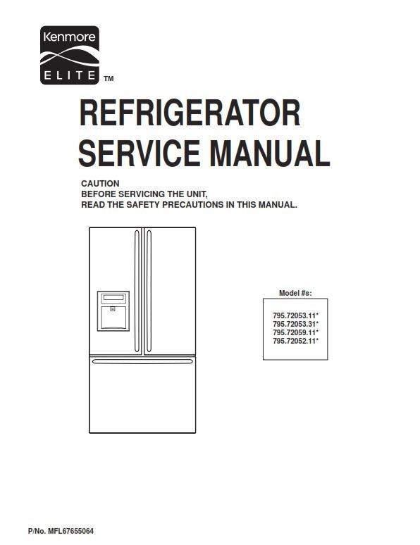 Kenmore Elite 795.72052 72053 72059 service manual and repair inistructions