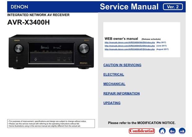 Denon AVR X3400H AV Receiver Service Manual & Repair Instructions